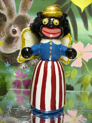 Golly Angel (judibird) Tags: wood holiday art toy miniature beads doll handmade oneofakind ooak painted craft felt dot ornament handpainted dolly figurine minstrel chenille vintagestyle pipecleaner googlyeye gollywog golliwog judibird