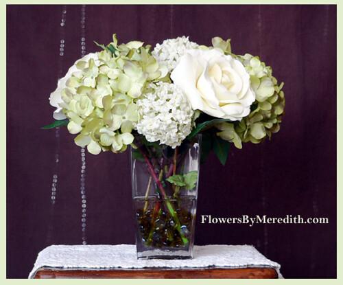 silk flower arrangement roses, hydrangea and snowballs