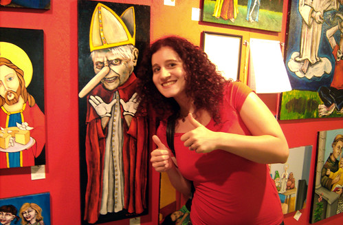 20090620 - Artomatic - GEDC0119 - Parthena - pope painting, thumbs up