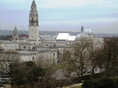 Cardiff city center from the Norman keep (karma (Karen)) Tags: castles wales stonework cardiff domes clocks uktrip hccity