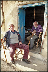 Shoemaker and friend /    (-Filippos-) Tags: old people men friend sitting village relaxing cyprus folklore poet tradition 2009 shoemaker oldtimes wisemen            mammri voutouros