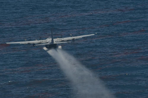 Airplane Spraying Oil Spill Dispersant Corexit In The Gulf Of Mexico