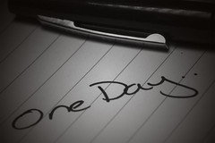 One Day.. (mlgroveruk) Tags: blackandwhite bw macro pen canon paper hope words emotion westsussex unitedkingdom thoughts 7d vivitar strobe notepad henfield vivitar90mmf28 canon7d litepanels litepanelsmicropro