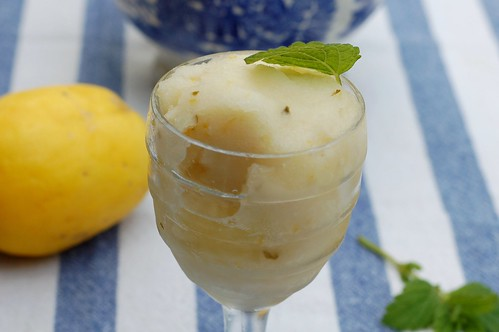 Meyer lemon sorbet topped with mint by Eve Fox, Garden of Eating blog