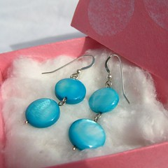 Flirty Blue - Mother of Pearl Earrings (la Nava) Tags: blue coin bright turquoise vibrant jewelry earrings flirty sterlingsilver earstud earwire lanavaa