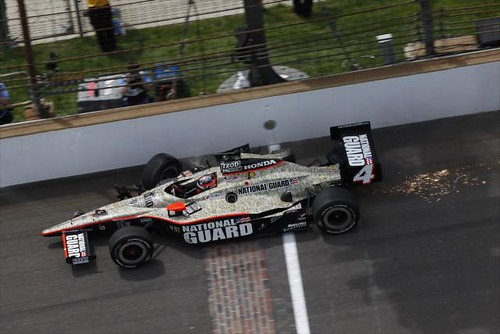 JR Hildebrand crosses the finish line despite his wreck on the final lap
