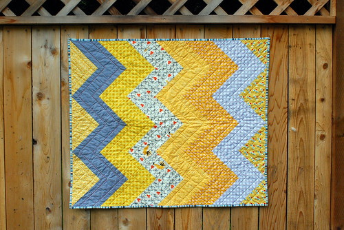 grey & gold baby quilt