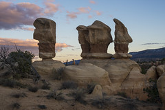 Three Hoodoos, Devil's Garden, GSENM, Utah (The Reluctant Fisherman) Tags: landscapes utah unitedstates nationalmonument escalante hoodoos grandstaircase 2014 devilsgarden grandstaircaseescalantenationalmonument gsenm nikon28105mmf3545d nikond600
