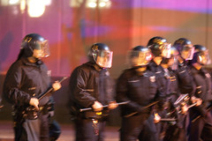 Riot Police Making There Way Towards Crowd After Crowd Starts Throwing Bottles, Oakland Riots (Thomas Hawk) Tags: california usa america oakland riot unitedstates unitedstatesofamerica protest bart police eastbay riots downtownoakland oaklandpd oaklandpolice fav10 bartpolice oscargrant oaklandriot oaklandriot2009 oaklandriots2009 oscargrantriots oaklandriots