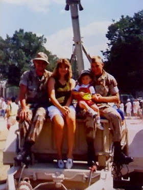 Hilary, James and Two Soldiers. Wash DC 1991