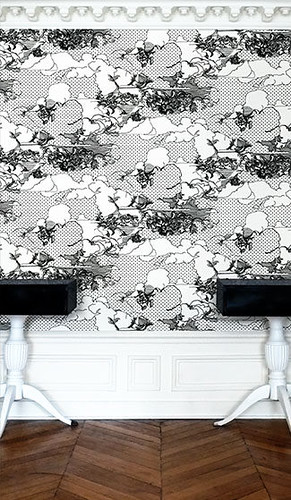 modern wallpaper prints. Modern wallpaper: Graphic black + white #39;Clouds#39; print