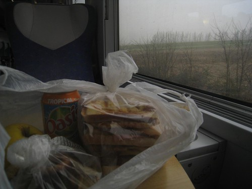 My packed lunch - 4 ham/cheese sandwiches, apple, Bordeaux cake, apple pie, and a soda