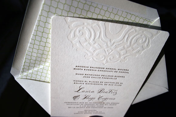Lashar letterpress wedding invitations in Spanish - by Smock