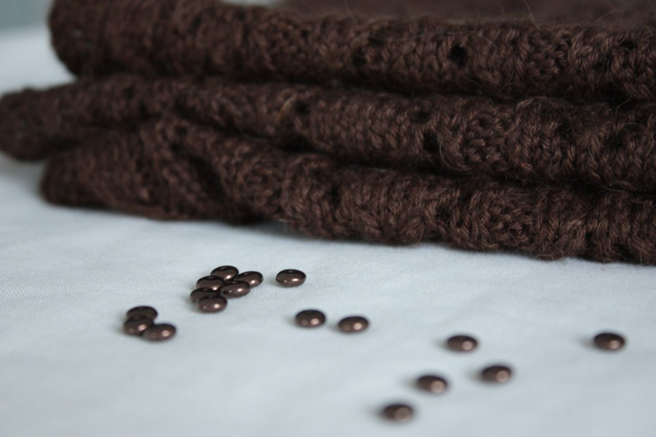 Cocoa Scarf and beads