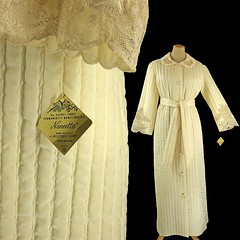 NWT Unworn Vintage 1960's Women's Robe, Quilted Ivory Nylon & Lace (mysweetiepiepie) Tags: fashion vintage clothing robe lace lingerie retro quilted 1960s unworn floorlength newwithtag mysweetiepiepie