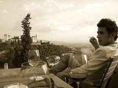 carlito (D  S) Tags: boy glass landscape flickr wine cigarette smoking granada mirador vino bicchiere ragazzo sigaretta terrazza armo davidsaccoes davidsaccophotography