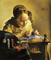 Dali, Salvador (1904-1989) - 1954 The Lacemaker After Vermeer (RasMarley) Tags: portrait contemporaryart surrealism 1954 spanish 1950s painter dali salvadordali 20thcentury realism thelacemakeraftervermeer