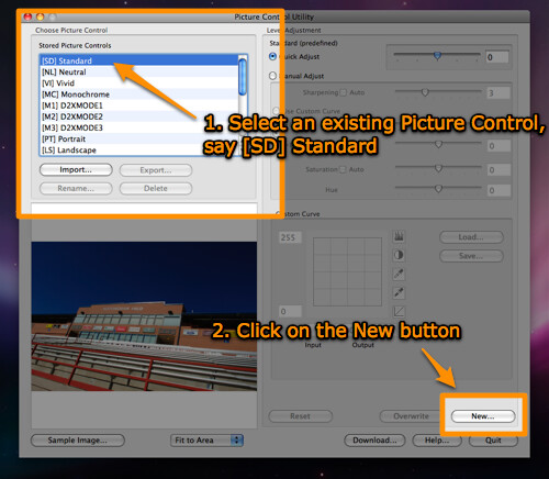 Create a copy of an existing Picture Control Utility