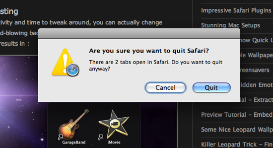 Dialog Box. Quitting Safari