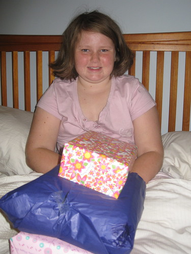 Amy opening presents
