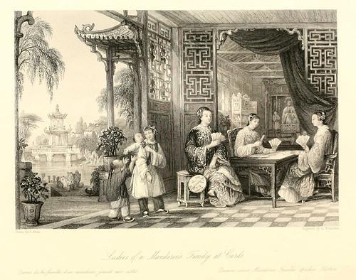009- Damas de la familia de un mandarin jugando a las cartas