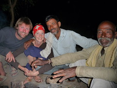 Chris and Lisa at the farmer's for dinner - Orchha