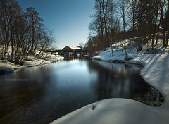Entering Civilization (mortenprom) Tags: wood longexposure bridge blue winter light brown white snow plant color reflection tree ice nature wet water oslo norway stone architecture forest fence river landscape march norge woodwork stream day skandinavien gray norwegen sunny wideangle explore rails granite noruega scandinavia 2009 noorwegen noreg wideangel sigma1020mm skandinavia polarizerfilter nd1000 nd30 bw110 canoneos40d nd1000x naturaldensityfilter mortenprom