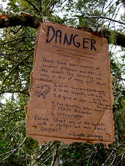 DANGER (cavale) Tags: sign rainbowgathering danger dragonfly deer scorpion diagram sharpie polarbears firebreathing ocala cryptozoology corpses cardbord marmaduke velicoraptor chainsawantlers