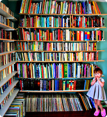 Book Worm (boopsie.daisy) Tags: records girl sweet library daughter vinyl sadie books lollipop shelves slippers bookworm lps