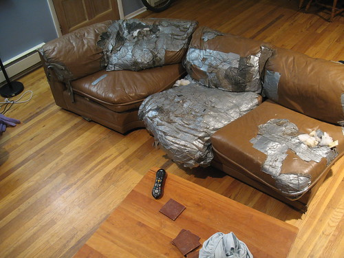 The last of the duct tape couch...