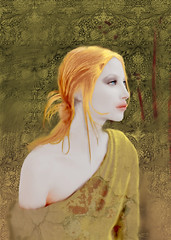 Ce que mes yeux ne peuvent voir - What my eyes can't see (vinciane.c) Tags: eye art texture model women pattern femme digitalpainting illusion photomontage redhair williammorris topmodel romantisme wacomcintiq