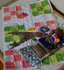 DQS6 Nearly Done (Tiny House) Tags: bird handquilting fleamarketfancy dollquiltswap joeldewberry