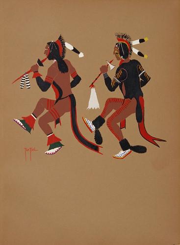 028-Arte Kiowa-Danza de los guerreros perros-acuarela 1929