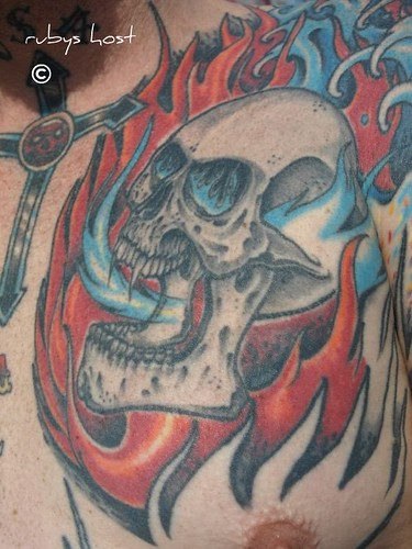 Skull & Flames tattoo,Skull & Flames tattoo,skull tattoos,skull tattoo designs