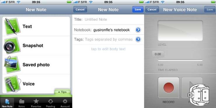 evernote sur iphone