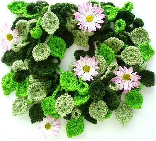 Mil folhas, cachecol de crochê