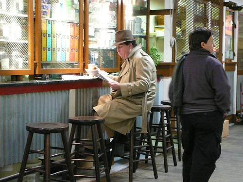 This guy looks like a detective from the 40s at the Reading Terminal Market