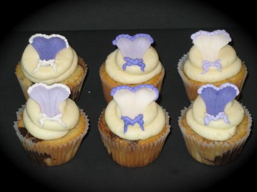 purple lingerie cupcakes