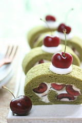 matcha rollcake with dark cherry (bananagranola (busy)) Tags: red food green japan fruit dessert japanese baking homemade sweets japanesefood matcha greentea rollcake darkcherry