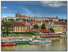 Prague Painting (Mike G. K.) Tags: city bridge reflection castle water architecture manipulated buildings reflections river painting geotagged boat ship view prague cathedral praha medieval czechrepublic charlesbridge effect vltava hdr slope karlovmost praguecastle prazskyhrad saintvitus photomatix 3exp geo:lat=50086583 geo:lon=14410822 mikegk:gettyimages=submitted