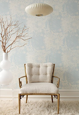 Modern wallpaper: Blue + white fireworks print by Schumacher