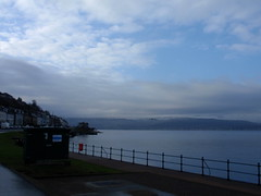 Gourock, big skies, winter afternoon 4 (nearerdark) Tags: blue winter sky water clouds river grey scotland clyde bigsky railing gourock bigskies whitefluffyclouds firthofclyde