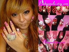 ★Kawaii Hello Kitty Deco Nails★ (Pinky Anela) Tags: pink japan japanese hellokitty nails kawaii deco polkadot nailart dekoden pinkyanela