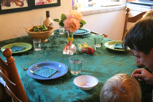 Earth Day Table Setting and Venus Fly Trap Feeding