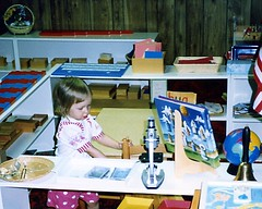 Christina at age 2 in our Montessori homeschool.