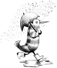 Omelette's rainy day (maralina!) Tags: blackandwhite bw bird monochrome rain illustration pencil puddle lost sketch search noiretblanc drawing character egg pluie sketchbook dessin jeunesse chick childrens crayon exploration oiseau perdu omelette eggshell parapluie oeuf croquis personnage recherche fledgeling carnetdecroquis ummbrella studiopersonaggio