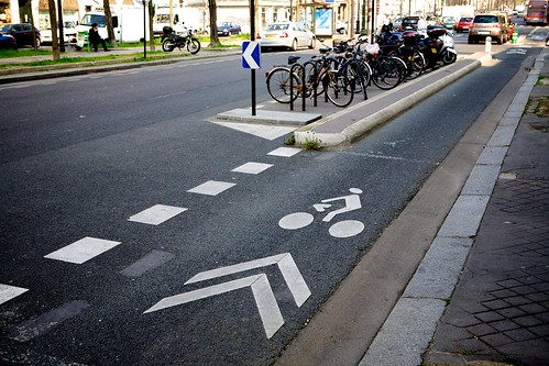 Seperated Bike Lane With On-Street Bicycle and Motor Bike Parking