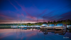 treman dreamin' ([Adam Baker]) Tags: park pink blue sunset summer lake ny reflection water clouds sailboat canon boat twilight marine state upstate panoramic ithaca portfolio cayuga 1740l treman gnd adambaker 5dmarkii