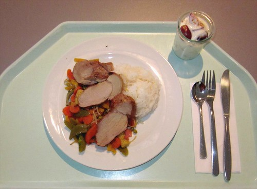 Pork filet with vegetables / Filetstück vom Schwein mit Wokgemüse
