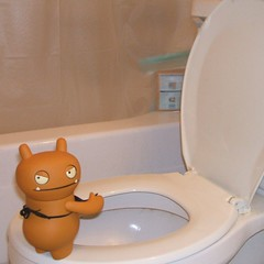 Do you mind? (captcreate) Tags: bathroom vinyl toilet apron plastic urinate peeing uglydolls wage annoyance horvath